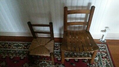 Two Vintage Childs Arts & Craft Oak Chairs