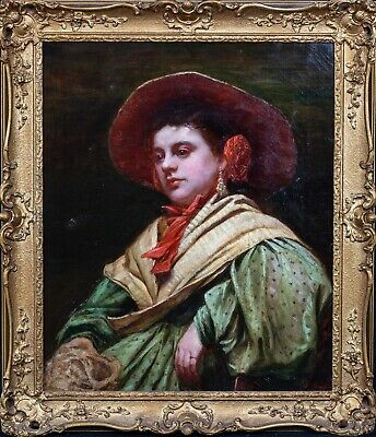 Large 19th Century Spanish Portrait Of A Lady Wearing A Red Wide Brim Hat