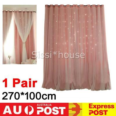 1Pair 2-Layers Star Blockout Blackout Curtains Eyelet Pure Fabric Room Darkening