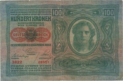1912 100 Kronen Austria Hungary Currency Banknote Note Money Bank Bill Cash