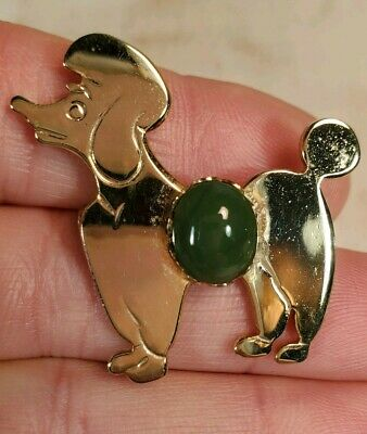 1 Vintage Poodle Dog Pin  Turquoise Stone Weisner Gold-tone Brooch 50s