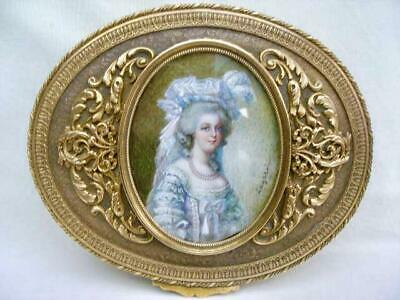 Superb Antique Fine Quality French Gilded Metal Signed Portrait Jewellery Box.