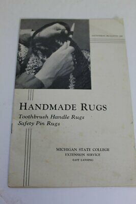Vintage Handmade Rugs Toothbrush Handle and Safety Pin Rug Patterns - 1948