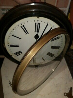 Antique 10 inch Face wall clock spares or repair Does Tick for short while