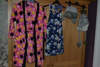 Girls age 7 to 8 Clothes Bundle - dressing gown , 2 hats , 1 top - #KC