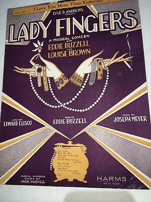 Sheet Music Lady Fingers Art Deco Lithograph For Wall Art Smoking Cigarette Orig