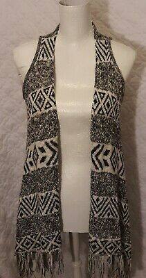Justice Black/White knotted Fringe Sweater Girls Sz 8/10