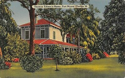 Thomas Edison's Home Fort Myers, Florida Vintage Linen Postcard B05