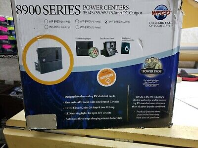 WFCO 55 amp RV power converter WF-8955 BOX DAMAGED ITEM HAS COSMETIC DAMAGE