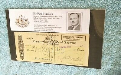 Rare! 1949 Fmr Governor General Paul Hasluck Signed 300 Pound  Bank Cheque!