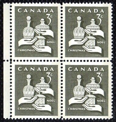 1965 CANADA 3¢ CHRISTMAS STAMP BLOCK, MINT MNH, Scott #443p, Tagged