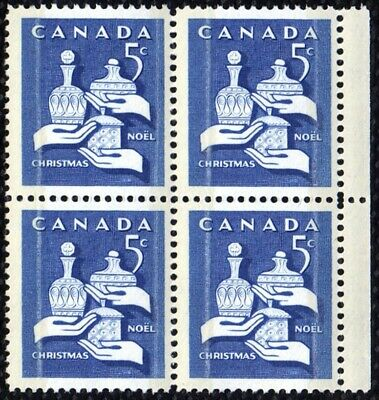 1965 CANADA 5¢ CHRISTMAS STAMP BLOCK, MINT MNH, Scott #444p, Tagged