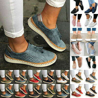 Womens Ladies Shoes Slip On Plimsolls Loafers Flats Sneakers Trainers Shoes Size