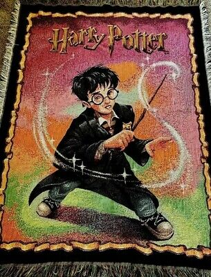 Harry Potter Tapestry Throw Blanket Wizard In Gryffindor Robe MAGIC WAND ~ 46x60