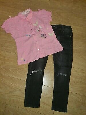 NEXT - Girls Outfit Black Jeans Elasticated Waist & Pink Blouse / Shirt - 8 yrs