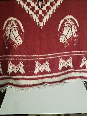 HEAVY BLANKET Mexican PONCHO COWBOY Burgundy Horses ONE SIZE FITS ALL