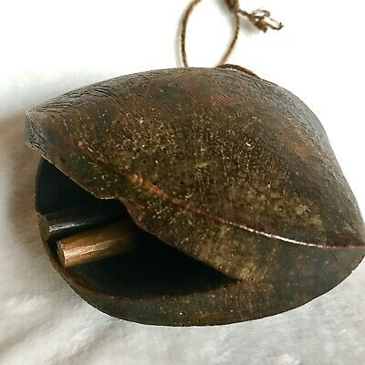 Antique Wooden Bell Cow Camel Goat Primitive Hand Carved Wood Aged Patina 1930s