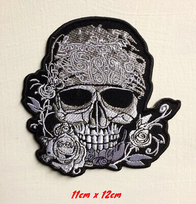 Skull Purple Rose Flower Patch Iron On Sew On Embroidered Badge Motorcycle Biker