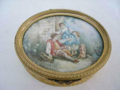Superb Antique Fine Quality French Gilded Metal Portrait Ring Box.