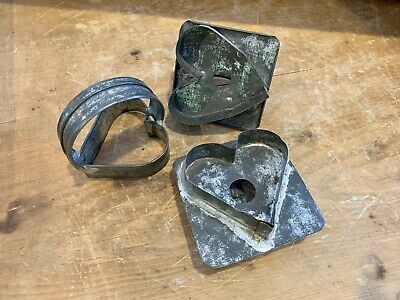 Lot Of 3 Antique Primitive Dark Tin Heart Cookie Cutters Patina