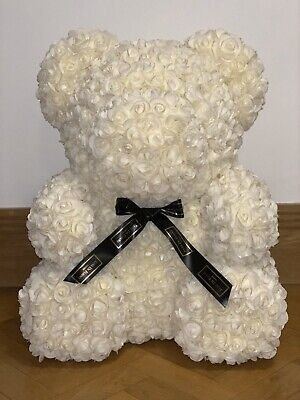Lovely Rose Flower Bear Toys Teddy Birthday Valentine Lovers Gifts White Cream