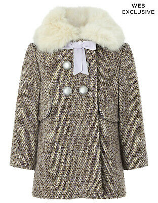 Monsoon Baby Girls Lavender Fur Childrens Coat 18 to 24 Months Age 2 To 3 Years