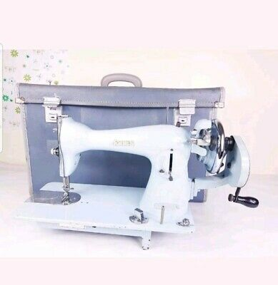 Vintage JONES Sewing Machine Blue Hand-Crank With Carry Case
