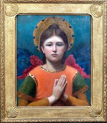 "Large 19th Century French ""The Angel"" Portrait by Edgard Maxence (1871-1954)"