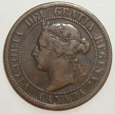 1901 Canada One 1 Cent Victoria Large Penny Coin