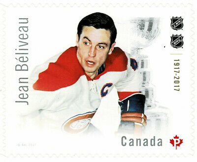 "Canada #3028(1) 2017 ""P"" 85 cent NHL: ULTIMATE SIX JEAN BELIVEAU MONTREAL MNH"