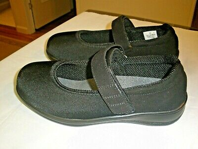 Orthofeet Black Lycra Casual Mary Jane Comfort  Loafers Shoes Women's 10 4E