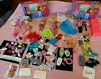 Barbie, Stacie, Skipper Todd includes 4 DOLLS and Accessories Huge LOT Much More