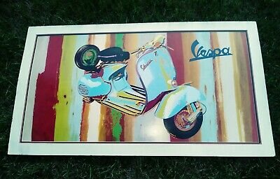"""Huge COLORFUL VINTAGE Vespa Motorcycle scooter advertising poster 24.5 X 44""""."""