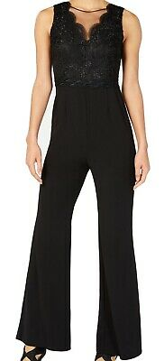 Adrianna Papell Women's Jumpsuit Black Size 12 Embellished Shimmer $199 #080