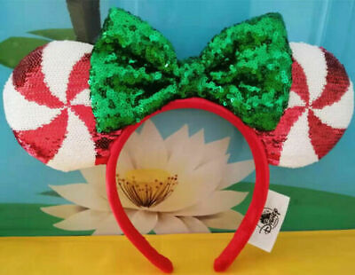 New Disney Parks Candy Cane Cutie Sequin Minnie Christmas Headband Girls Ears