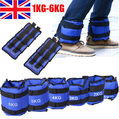 1-6KG Ankle Weights Adjustable Leg Wrist Strap Running Boxing Braclets Strap Gym
