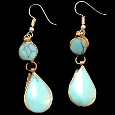VERY RARE ANCIENT SILVER EARRINGS WITH AQUA STONES (Large Size) (1)
