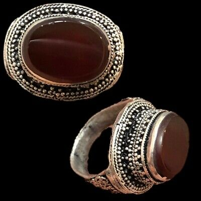 Stunning Top Quality Post Medieval Silver Ring With Carnelian Stone (5)