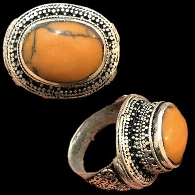 Stunning Top Quality Post Medieval Silver Ring With Orange Stone (6)
