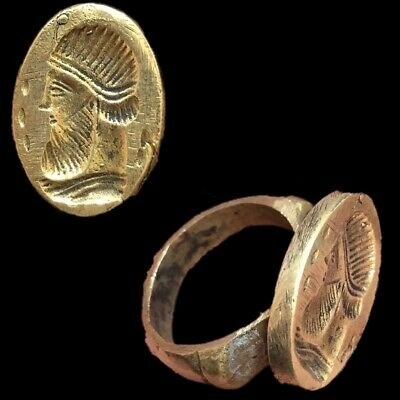 Rare Ancient Bronze Near Eastern Pictorial Ring 300 B.c. (2)