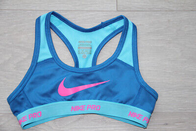 NIKE PRO girl's sports bra/top/blue, XS, 6-8 years, excellent con