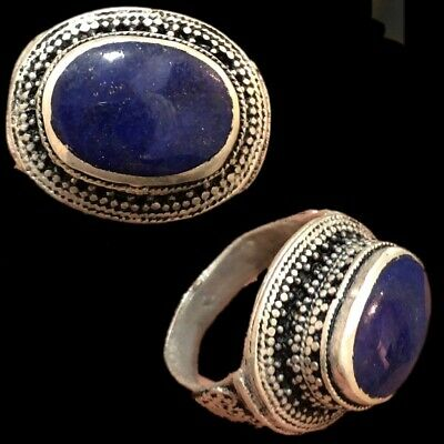Stunning Top Quality Post Medieval Silver Ring With Lapis Stone (9)