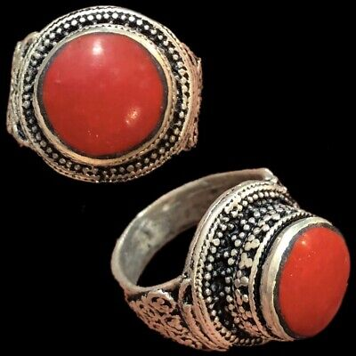 Stunning Top Quality Post Medieval Silver Ring With Red Stone (10)