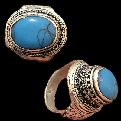 Stunning Top Quality Post Medieval Silver Ring With Blue Stone (11)