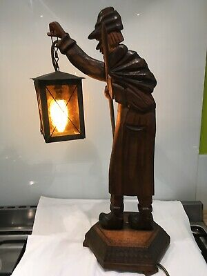 Antique Black Forest Carved Wood Night Watchman Lamp ,german ,treen