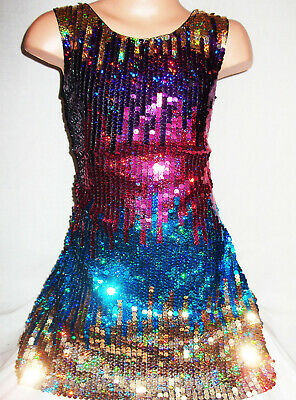 GIRLS 60s PINK /& GOLD KALEIDOSCOPE PATTERN SPARKLY SEQUIN DANCE PARTY DRESS