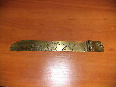 Antique Japanese Letter Opener with Box Brass Engraving