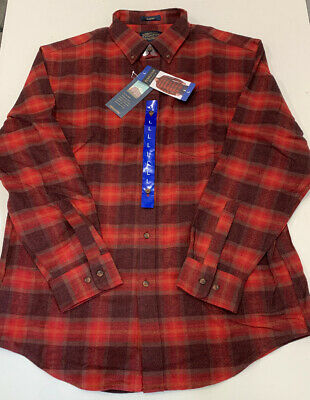 Pendleton Mason Flannel Shirt NEW with tags Mens Red Wine Lister Plaid LARGE