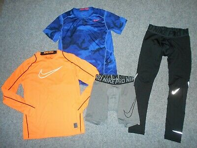 4 Nike Youth Boys Xl Athletic Shirts And Compression Pants Lot                B3