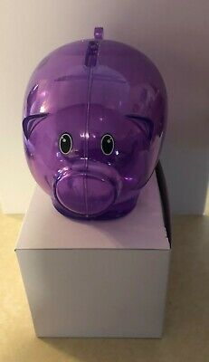 "New Purple Plastic Piggy Bank 5 1/2"" X 3 3/4""- Save Coins And Cash Fun For Kids"